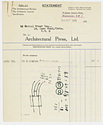 Click to select: Bill for 4 copies of Architectural Review with sketch and drafts of letter to H. de C. Hastings on reverse