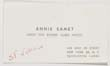 Click to select: Business card for Annie Samet