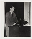 Click to select: Mr. Anders Tengbom, Architect S.A.R. Lecturing at the National Museum on 'Louis Sullivan - pioneer of modern American Architecture' during the exhibit America Builds Exhibition held in Stockholm June 14 to Aug. 15, 1944