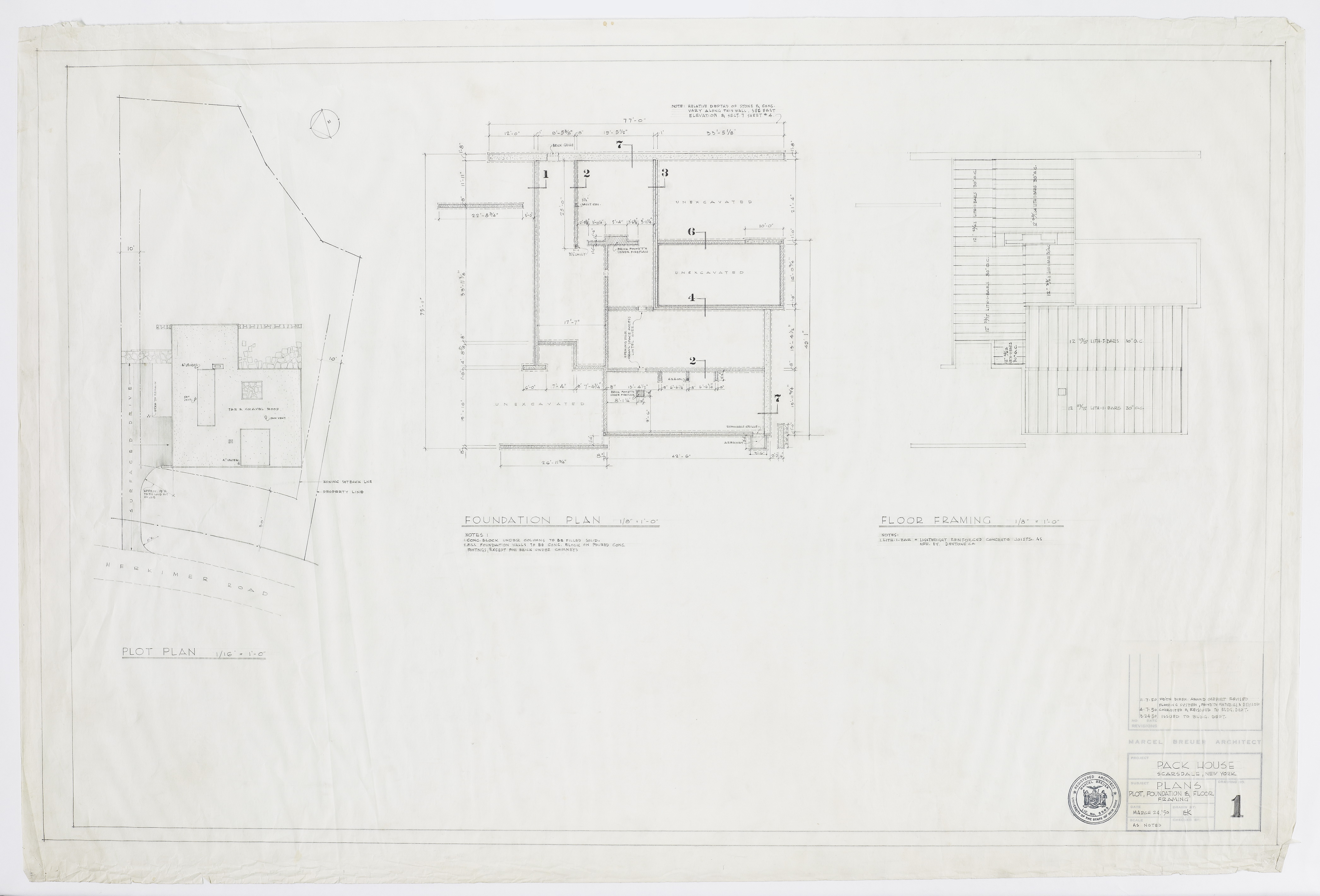 Click to show Plans: Plot, Foundation and Floor Framing (Dwg. No. 1) 3