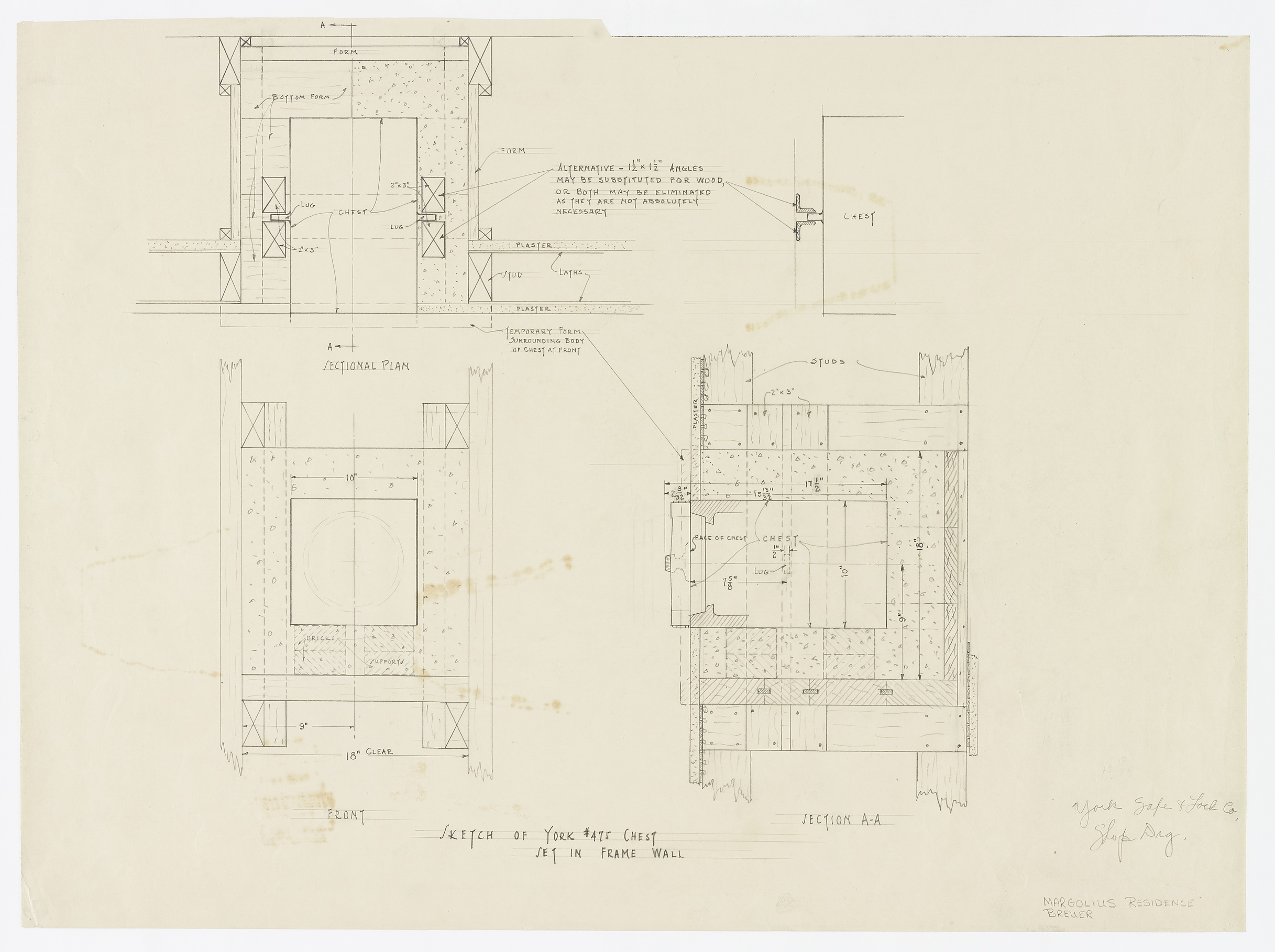 Sketch of York No. 475 Chest Set in Frame Wall (wall safe)