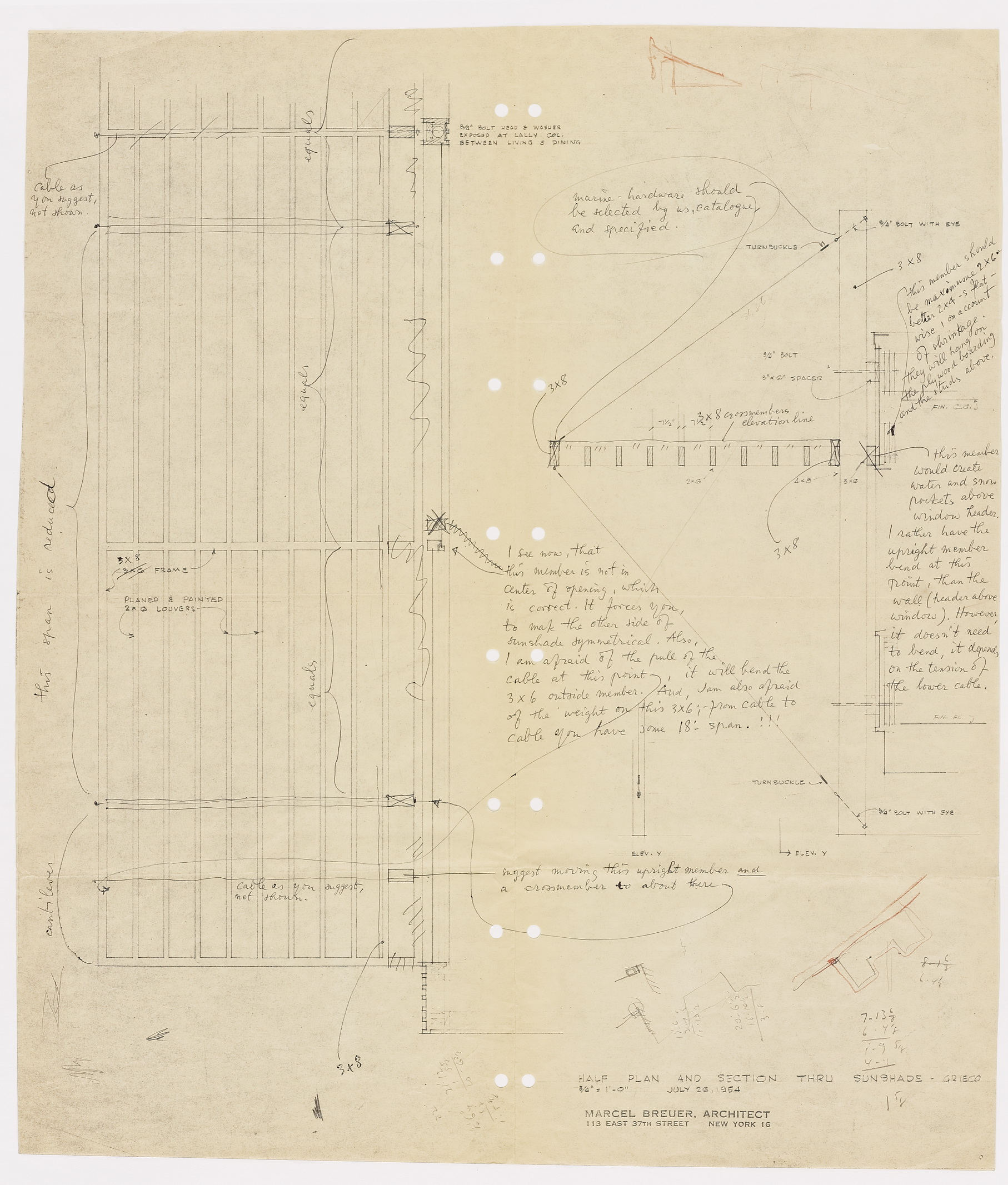 Click to select: Half Plan and Section through Sunshade (annotated print)
