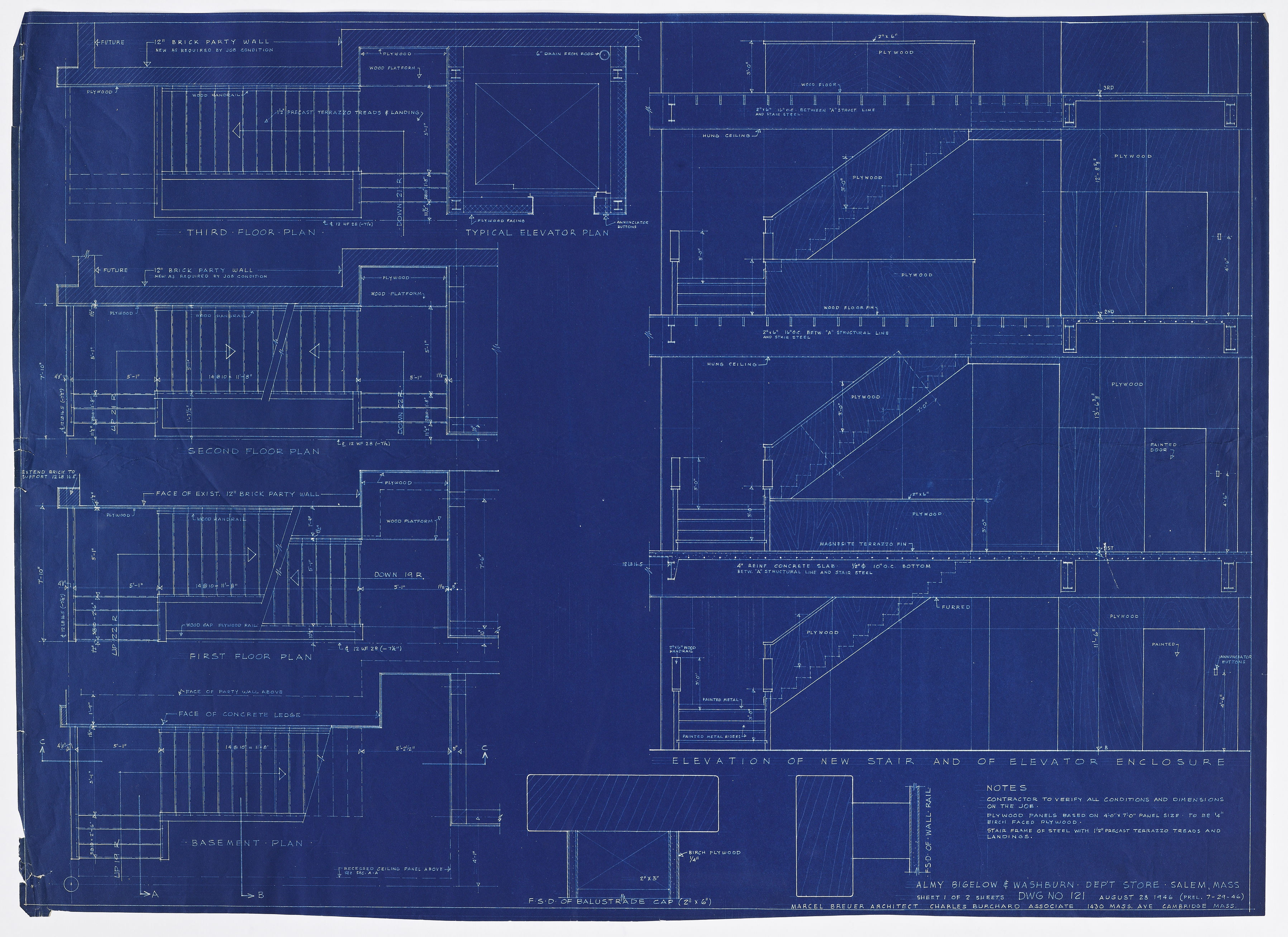 Click to show Elevation of New Stair and of Elevator Enclosure (Dwg. No. 121) 5